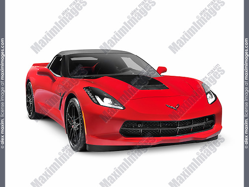 Red 2016 Chevrolet Corvette Stingray Z51 Convertible luxury sports car isolated on white background with clipping path