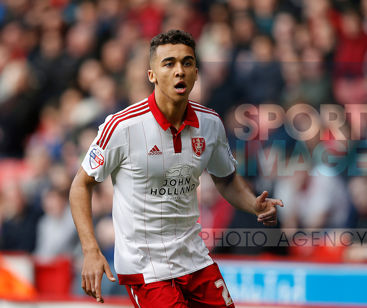Dominic Calvert-Lewin of Sheffield Utd in action during the Sky Bet League One match at The Bramall Lane Stadium.  Photo credit should read: Simon Bellis/Sportimage