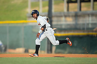 Cedric Mullins (11) of the Delmarva Shorebirds takes off for second base during the game against the Hickory Crawdads at L.P. Frans Stadium on June 18, 2016 in Hickory, North Carolina.  The Shorebirds defeated the Crawdads 4-2 in game two of a double-header.  (Brian Westerholt/Four Seam Images)