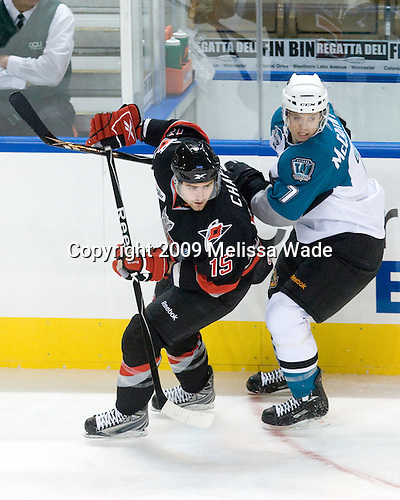 Stefan Chaput (Albany - 15), John McCarthy (Worcester - 7) - The Worcester Sharks defeated the Albany River Rats 5-3 (EN) on Sunday, October 18, 2009, at the DCU Center in Worcester, Massachusetts.