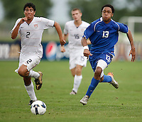 Cristian Flores (2) of the USA is chased by Brian Span (13) of the Academy Select Team. The US U-17 Men's National Team defeated the Development Academy Select Team 3-1 during day one of the US Soccer Development Academy  Spring Showcase in Sarasota, FL, on May 22, 2009.