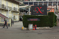 Switzerland. Canton Ticino. Chiasso. Maxim is one of the largest brothel in the Southern Switzerland,. Due to the outbreak of Coronavirus (also called Covid-19), very few customers. The disease has stopped the sex business. A worker is cleaning the leaves on the ground with an leaf-blower. 9.03.2020 © 2020 Didier Ruef