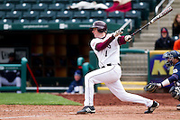 Derek Mattea (1) of the Missouri State Bears swings for a base hit to center field during a game against the Oral Roberts Golden Eagles on March 27, 2011 at Hammons Field in Springfield, Missouri.  Photo By David Welker/Four Seam Images
