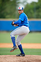 Toronto Blue Jays pitcher Nate Pearson (35) during a Minor League Spring Training Intrasquad game on March 31, 2018 at Englebert Complex in Dunedin, Florida.  (Mike Janes/Four Seam Images)
