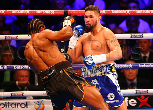 March 4th 2017, O2 Arena, London England; Heavyweight Boxing David Haye versus Tony Bellew; David Haye dodges a right hook from Tony Bellew, during the Heavyweight contest