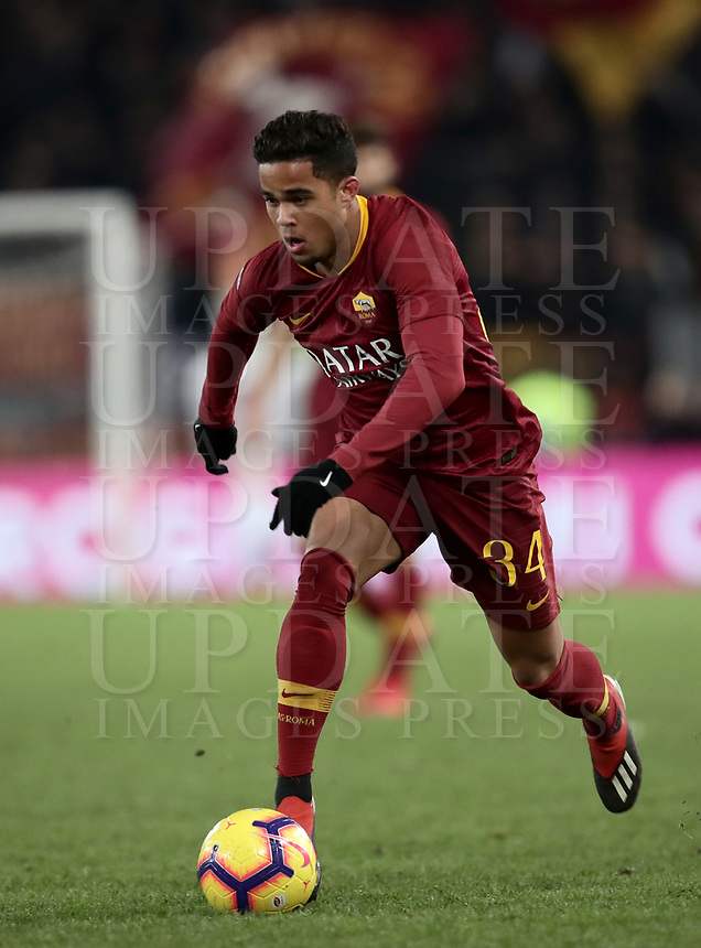 Football, Serie A: AS Roma - US Sassuolo, Olympic stadium, Rome, December 26, 2018. <br /> Roma's Justin Kluivert in action during the Italian Serie A football match between Roma and Sassuolo at Rome's Olympic stadium, on December 26, 2018.<br /> UPDATE IMAGES PRESS/Isabella Bonotto