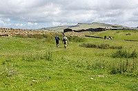 Northumberland, England, UK.  Hikers on Hadrian's Wall (Pennine Way) Footpath, Winshield Crags in the distance.