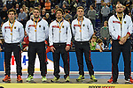 Leipzig, Germany, February 08: Players of Germany during the prize giving ceremony at the Indoor Hockey World Cup after defeating Iran 13-2 on February 8, 2015 at the Arena Leipzig in Leipzig, Germany. (Photo by Dirk Markgraf / www.265-images.com) *** Local caption ***