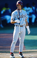 A.J. Hinch of the Stanford Cardinal bats during a 1996 NCAA baseball season game against the UCLA Bruins at Jackie Robinson Stadium in Los Angeles, California. (Larry Goren/Four Seam Images)