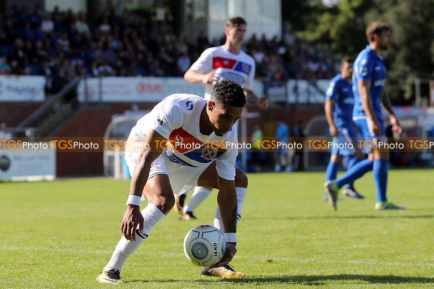 Corey Whitely of Dagenham collects the ball after scoring the second goal from the penalty spot during Eastleigh vs Dagenham & Redbridge, Vanarama National League Football at the Silverlake Stadium on 12th August 2017