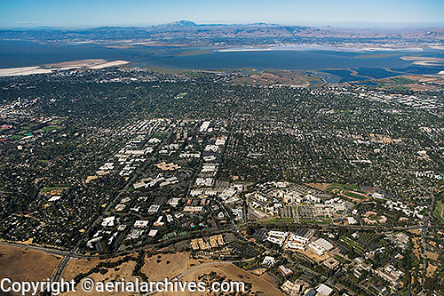aerial photograph Stanford Research Park, Page Mill Road, Palo Alto, San Clara county, California