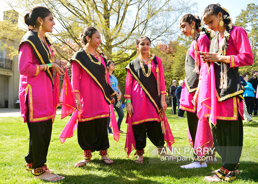May 5, 2013 - Hempstead, New York, U.S. - Indian female dancers are ready to share the rich heritage of India in dance, at the 30th Annual Dutch Festival celebrating Hofsta University's Global Campus. The performers wear traditional makeup, gold jewelry, and colorful silk costumes.