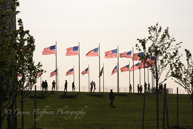 American flags surrounding Washington Monument, DC