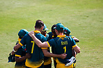 Players of South Africa celebrate during Day 1 of Hong Kong Cricket World Sixes 2017 Group A match between South Africa vs Pakistan at Kowloon Cricket Club on 28 October 2017, in Hong Kong, China. Photo by Vivek Prakash / Power Sport Images