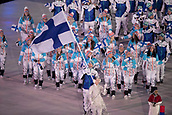 9th February 2018, Pyeongchang, South Korea; 2018 Winter Olympic Games; PyeongChang Olympic Ski Jumper Janne Ahonen leading the national team during the Opening ceremony carrying flag of Finland