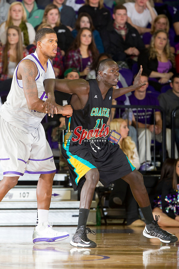El Hadji Ndieguene (11) of the Coastal Carolina Chanticleers tries to get position down low against Allan Chaney (13) of the High Point Panthers at Millis Athletic Center on February 9, 2013 in High Point, North Carolina.  The Panthers defeated the Chanticleers 74-62.   (Brian Westerholt/Sports On Film)