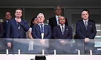 FUSSBALL FIFA Confed Cup 2017 Vorrunde in Sotchi 19.06.2017  Australien - Deutschland  (DFB Praesident Reinhard Grindel (Deutschland), FFA-Präsidenten Frank Lowy (Australien), FIFA Vizepraesident Ahmad (Madagaskar und CAF Praesident) und FIFA Praesident Gianni Infantino (v.li, Schweiz) auf der VIP Tribuene