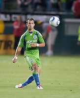 CARSON, CA – NOVEMBER 7:  Seattle Sounders defender Patrick Ianni (4) during a playoff soccer match at the Home Depot Center, November 7, 2010 in Carson, California. Final score LA Galaxy 2, Seattle Sounders 1.