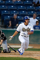 Corey Seager #22 of the Rancho Cucamonga Quakes bats against the Lake Elsinore Storm at LoanMart Field on August 6, 2013 in Rancho Cucamonga, California. Lake Elsinore defeated Rancho Cucamonga, 13-5. (Larry Goren/Four Seam Images)