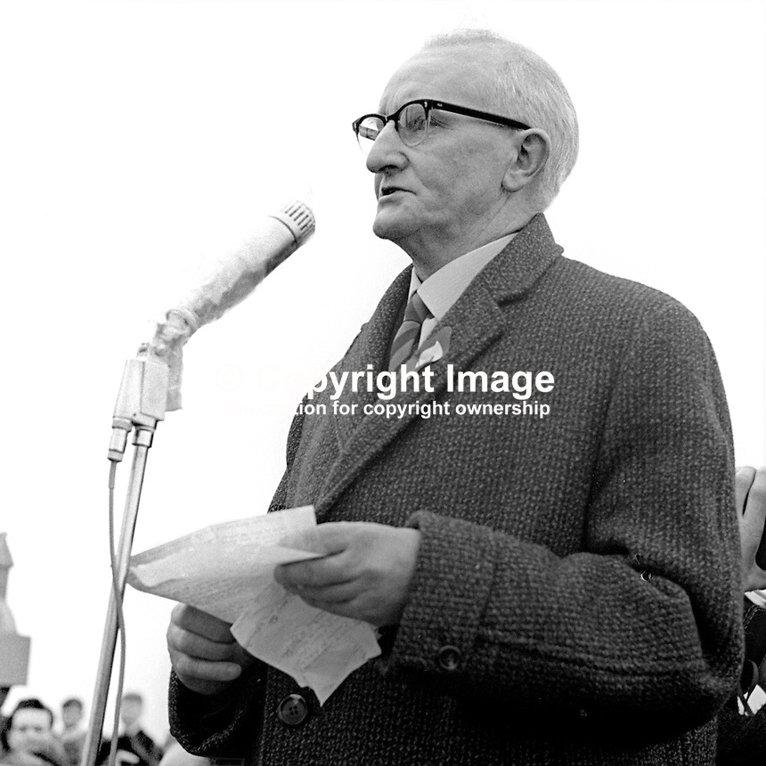 Jimmy Steele, aka James Steele, lifelong Irish Republican, speaking at the annual Republican Ceremony on Easter Sunday at Milltown Cemetery, Belfast, N Ireland, UK, April 1966. He was jailed and several times during his life for IRA membership. When the IRA split in 1969 he sided with the Provisional wing. He was the first editor of Republican News. He died 9th August 1970. 196604000025<br /> <br /> Copyright Image from Victor Patterson, 54 Dorchester Park, Belfast, UK, BT9 6RJ<br /> <br /> Tel: +44 28 9066 1296<br /> Mob: +44 7802 353836<br /> Voicemail +44 20 8816 7153<br /> Email: victorpatterson@me.com<br /> Email: victorpatterson@gmail.com<br /> <br /> IMPORTANT: My Terms and Conditions of Business are at www.victorpatterson.com