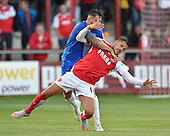 11/08/2015 Capital One Cup, First Round Fleetwood Town v Hartlepool United<br /> Billy Paynter wrestles Antoni Sarcevic