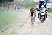 race leader Jelle Wallays (BEL/Lotto-Soudal) over the gravel<br /> <br /> 1st Dwars door het Hageland 2016<br /> (pics by Léon Van Bon)