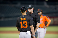 First base umpire Pete Talkington gives AZL Giants manager Hector Borg (13) an explanation for a balk issued against relief pitcher Sidney Duprey (not pictured) during a game against the AZL Cubs on September 6, 2017 at Sloan Park in Mesa, Arizona. AZL Giants defeated the AZL Cubs 6-5 to even up the Arizona League Championship Series at one game a piece. (Zachary Lucy/Four Seam Images)