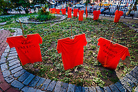 New York, USA 29 June 2016 As part of Gun Violence Awareness Months volunteers planted Orange t-shirts in the yard of St Mark's Church in the Bowery which bear the names of Gun Violence victims ©Stacy Walsh Rosenstock
