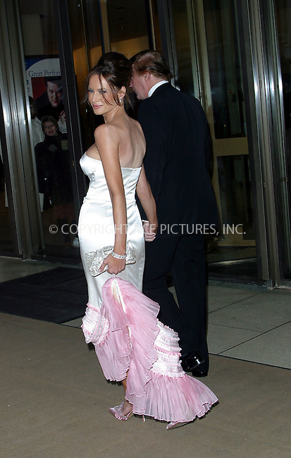 Donald Trump and girlfriend Melania Knauss arrive at the Film Society of Lincoln Center honoring Susan Sarandon event in New York. May 5, 2003. ..Please byline: Alecsey Boldeskul/NY Photo Press.   ..*PAY-PER-USE*      ....NY Photo Press:  ..phone (646) 267-6913;   ..e-mail: info@nyphotopress.com
