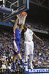 Boise State guard Anthony Drmic dunks the ball on Julius Randle during the first half of the University of Kentucky men's basketball game vs. Boise State at Rupp Arena in Lexington, Ky., on Tuesday, December, 10, 2013. Photo by Jonathan Krueger | Staff