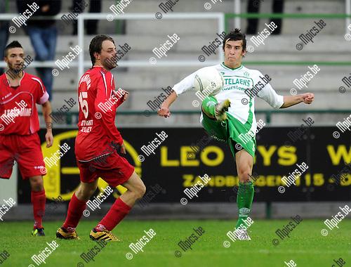 2011-08-13 / Voetbal / seizoen 2011-2012 / Dessel Sport - Blegny /   Kolek met Hans Hannes (r, Dessel)..Foto: mpics
