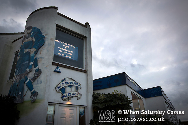 Southend United 1 Burton Albion 1, 22/02/2016. Roots Hall, League One. A mural and electronic display on the exterior wall of the club shop at Roots Hall stadium, pictured before Southend United took on Burton Albion in a League 1 fixture. Founded in 1906, Southend United moved into their current ground in 1955, the construction of which was funded by the club's supporters. Southend won this match by 3-1, watched by a crowd of 6503. Photo by Colin McPherson.