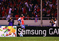 SAN JOSE, COSTA RICA - September 06, 2013: Joel Campbell (12) of the Costa Rica MNT celebrates after scoring his second goal during a 2014 World Cup qualifying match against the USA at the National Stadium in San Jose on September 6. USA lost 3-1.