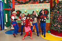 Scott 'Smitty' Smith, Dave Poche, Wendy Calio, Rich Collins and Scott Durbin in Disney Channel's 'The Imagination Movers' in the episode 'Happy Ha-Ha-Holidays.'