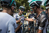 World Champion Peter Sagan (SVK/Bora Hansgrohe) being congratulated by teammates.<br /> <br /> Binckbank Tour 2017 (UCI World Tour)<br /> Stage 1: Breda (NL) &gt; Venray (NL) 169,8km