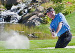 August 5, 2012: Todd Hamilton chips out of a sand trap on the 18th hole during the final round of the 2012 Reno-Tahoe Open Golf Tournament at Montreux Golf & Country Club in Reno, Nevada.