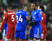 30th January 2019, Anfield, Liverpool, England; EPL Premier League football, Liverpool versus Leicester City; Nampalys Mendy of Leicester City shakes hands with Ricardo Pereira of Leicester City after the final whistle