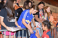 Houston, TX - Sunday Oct. 09, 2016: Caprice Dydasco, fans after the National Women's Soccer League (NWSL) Championship match between the Washington Spirit and the Western New York Flash at BBVA Compass Stadium. The Western New York Flash win 3-2 on penalty kicks after playing to a 2-2 tie.