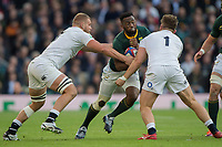 Twickenham, United Kingdom, Saturday, 3rd November 2018, RFU, Rugby, Stadium, England, RSA. captain ,Slyamthanda KOLLISA. going for the gap, left Brad SHIELDS and Alec HEPBURN,  during the Quilter, Autumn International, England vs South Africa, © Peter Spurrier