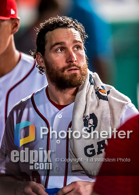 6 October 2017: Washington Nationals second baseman Daniel Murphy looks out from the dugout during the first game of the NLDS against the Chicago Cubs at Nationals Park in Washington, DC. The Cubs shut out the Nationals 3-0 to take a 1-0 lead in their best of five Postseason series. Mandatory Credit: Ed Wolfstein Photo *** RAW (NEF) Image File Available ***