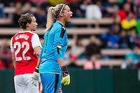 Seattle, WA - Thursday, May 26, 2016: Arsenal Ladies FC goalkeeper Emma Byrne (1). The Seattle Reign FC of the National Women's Soccer League (NWSL) and the Arsenal Ladies FC of the Women's Super League (FA WSL) played to a 1-1 tie during an international friendly at Memorial Stadium.