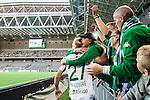 Stockholm 2015-07-13 Fotboll Allsvenskan Hammarby IF - Falkenbergs FF :  <br /> Hammarbys Isac Lidberg kramar om en supporter till Hammarbys efter matchen mellan Hammarby IF och Falkenbergs FF <br /> (Foto: Kenta J&ouml;nsson) Nyckelord:  Fotboll Allsvenskan Tele2 Arena Hammarby HIF Bajen Falkenberg FFF supporter fans publik supporters jubel gl&auml;dje lycka glad happy
