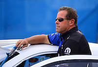 Aug. 31, 2012; Claremont, IN, USA: NHRA pro stock driver Allen Johnson during qualifying for the US Nationals at Lucas Oil Raceway. Mandatory Credit: Mark J. Rebilas-