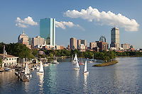 Back Bay skyline afternoon, from Longfellow Bridge, Boston, MA with Community Boating