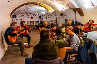 Flamenco guitar class, Escuela Carmen de Las Cuevas (built into a cave), Granada, Granada Province, Andalusia, Spain.