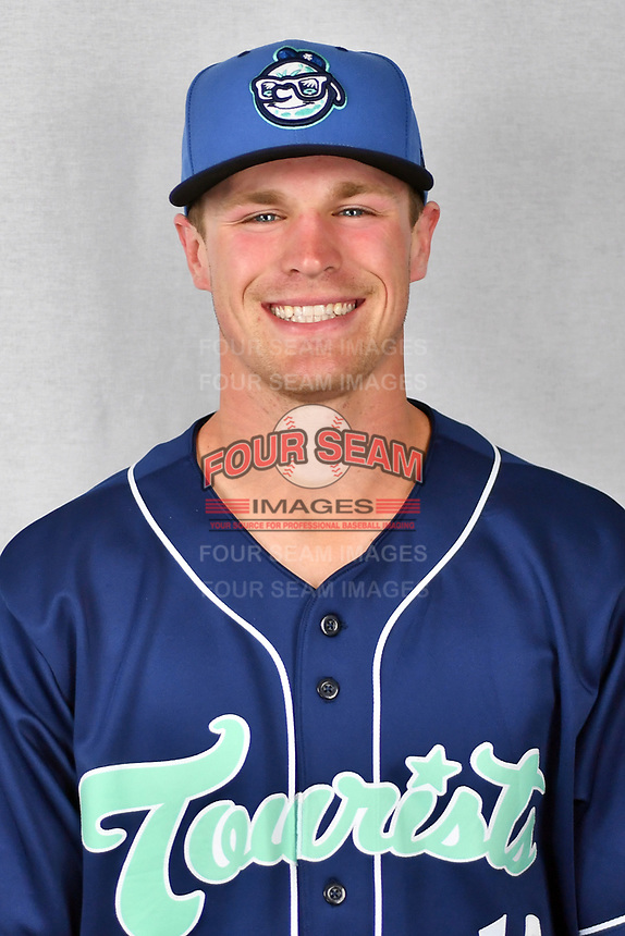 Asheville Tourists infielder Daniel Jipping (16) during media day at McCormick Field on April 2, 2019 in Asheville, North Carolina. (Tony Farlow/Four Seam Images)