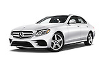 Stock pictures of low aggressive front three quarter view of 2018 Mercedes Benz E-Class E300 4 Door Sedan Low Aggressive
