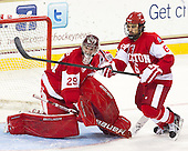 Matt O'Connor (BU - 29), Alexx Privitera (BU - 6) - The Boston College Eagles defeated the visiting Boston University Terriers 5-2 on Saturday, December 1, 2012, at Kelley Rink in Conte Forum in Chestnut Hill, Massachusetts.