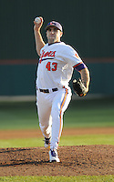 Pitcher Patrick Andrews (43) of the Clemson Tigers in a game against the Wofford Terriers on Wednesday, March 6, 2013, at Doug Kingsmore Stadium in Clemson, South Carolina. Clemson won, 9-2. (Tom Priddy/Four Seam Images)