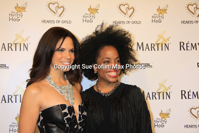 "CNN's Soledad O'Brien (co-mistress of ceremonies) and Another World's Rhonda Ross at Hearts of Gold's 16th Annual Fall Fundraising Gala & Fashion Show ""Come to the Cabaret"", a benefit gala for Hearts of Gold on November 16, 2012 at the Metropolitan Pavilion, New York City, New York.   (Photo by Sue Coflin/Max Photos)"